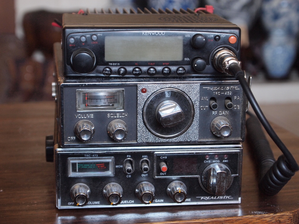 K2rni shack and equipment photos 2 old realistic cb radios and kenwood tm241a 50 watt 2 meter all used as base sciox Gallery